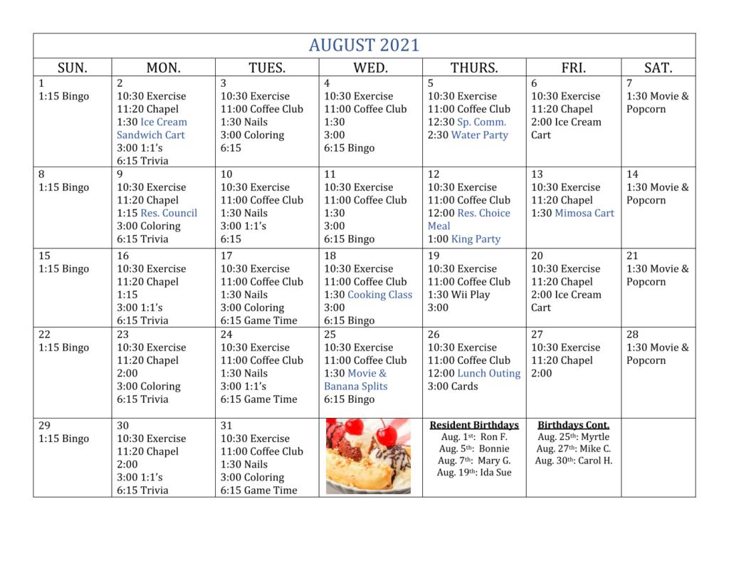 August Activity Calendar 2021